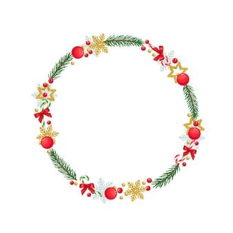 雪片、お菓子、クリスマスボール、トウヒの小枝、赤い果実、休日の装飾が施されたクリスマスラウンドフレーム。