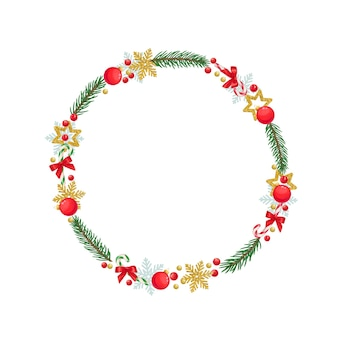 Christmas round frame with snowflakes, sweets, christmas balls, spruce twigs, red berries and holiday decorations.