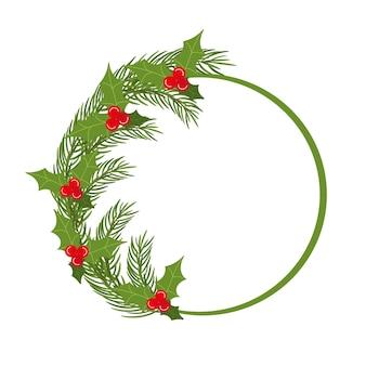Рождественская круглая рамка с еловыми ветками