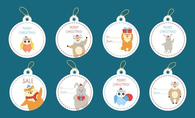 동물들과 함께 크리스마스 라운드 선물 태그