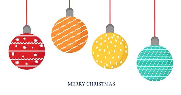 クリスマスの丸いおもちゃ赤黄緑オレンジ