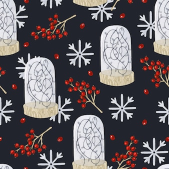 Christmas rustic garland with berries and snowflakes seamless pattern watercolor wallpaper