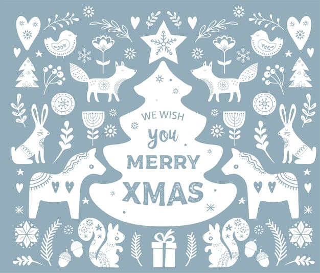 Christmas s, banner  hand drawn elements in scandinavian style