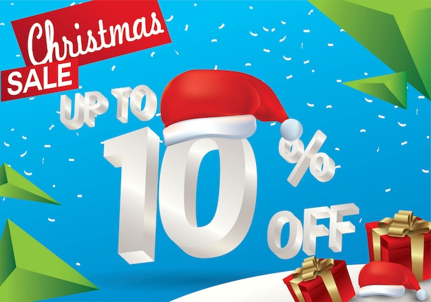 Christmas sale 10 percent. winter sale background with 3d ice text with hat santa claus ba
