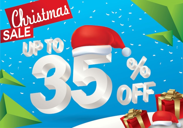 Christmas sale 35 percent. winter sale background with 3d ice text with hat santa