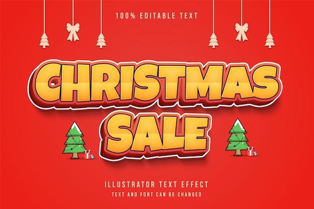 クリスマスセール、3d編集可能なテキスト効果黄色グラデーションオレンジテキストスタイル Premiumベクター