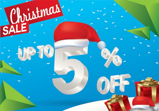 Christmas sale 5 percent. winter sale background with 3d ice text with hat santa claus