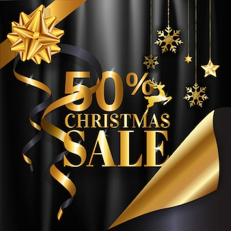 Christmas sale 50% banner design