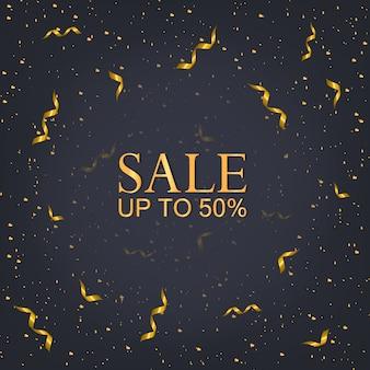 Рождественская распродажа 50% баннер, рождественские огни вечеринки и золотые.