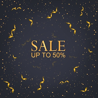 Christmas sale 50% banner, xmas lights party and golden.