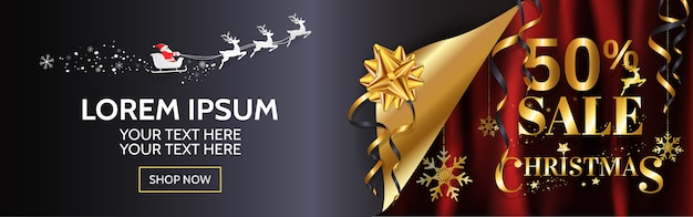 Christmas sale 50% wide banner design for web, poster in gold and red background with copy space.