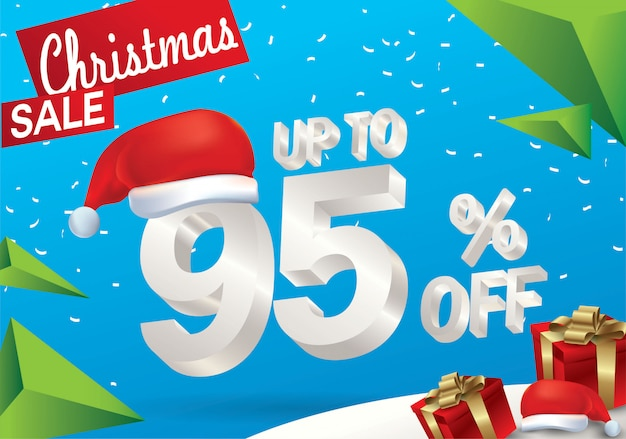 Christmas sale 95 percent. winter sale background with 3d ice text with hat santa claus