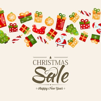 中央の割引と多くのカラフルなギフトについてのテキストを含むクリスマスセールと新年あけましておめでとうございますテンプレート