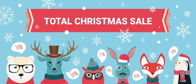 Рождественские продажи фон, скидки с набором мультяшных милых лесных животных