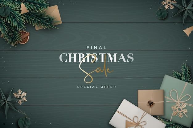 クリスマスセールの背景フラットレイ構成
