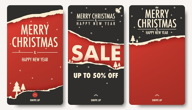 Christmas sale background stories collection.