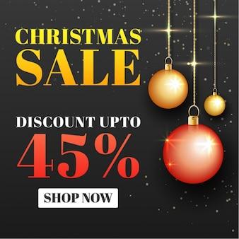 Рождественские продажи фон с шарами висит