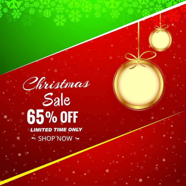 Christmas sale background with christmas ball colorful background vector
