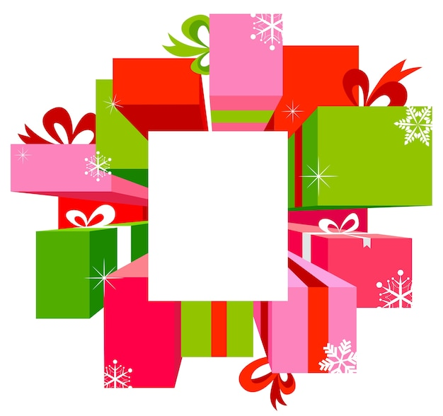 Christmas sale background with colorful gift boxes.  illustration