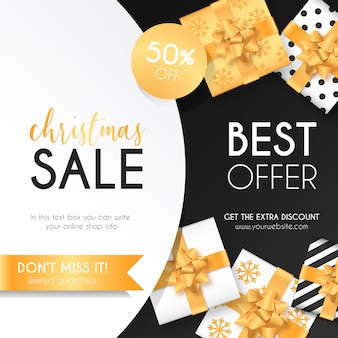 Christmas sale background with elegant presents