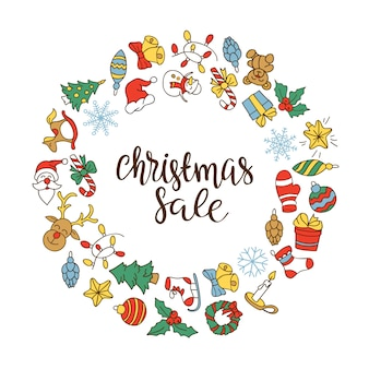 Christmas sale background with flat icons.