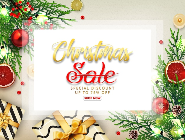 Christmas sale background with gift boxes, golden balls, pine tree and realistic ribbon.