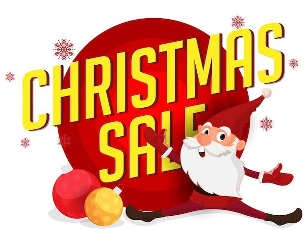 Christmas sale background with happy santa