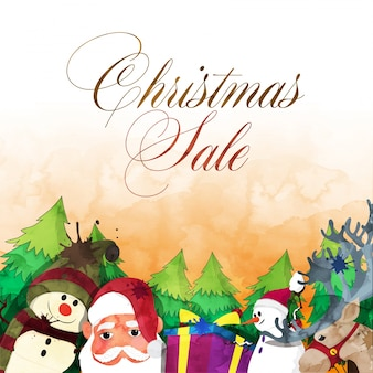 Christmas sale background with santa and snowman