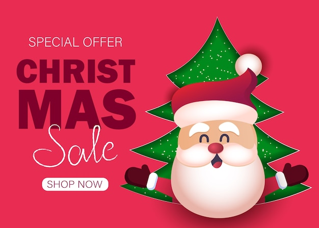 Christmas sale background with santa