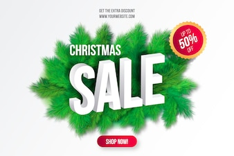 Christmas Sale Background with Tree Branches