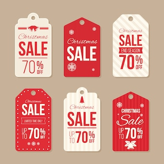Christmas sale badge and tag flat design