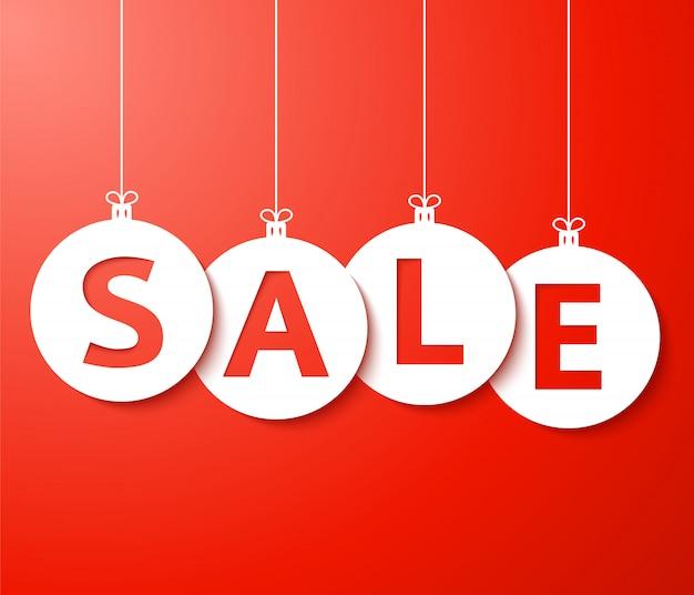 Christmas sale balls banner