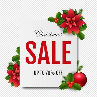 Christmas sale banne rwith red christmas poinsettia