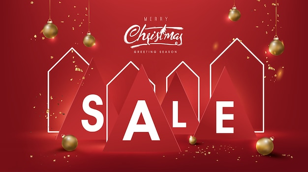 Christmas sale banner background composition in paper cut style and house neon sign