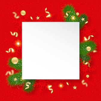 Christmas sale banner. background with shining snowflakes, brunches and stars