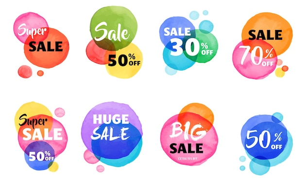Christmas sale banner colorful watercolor