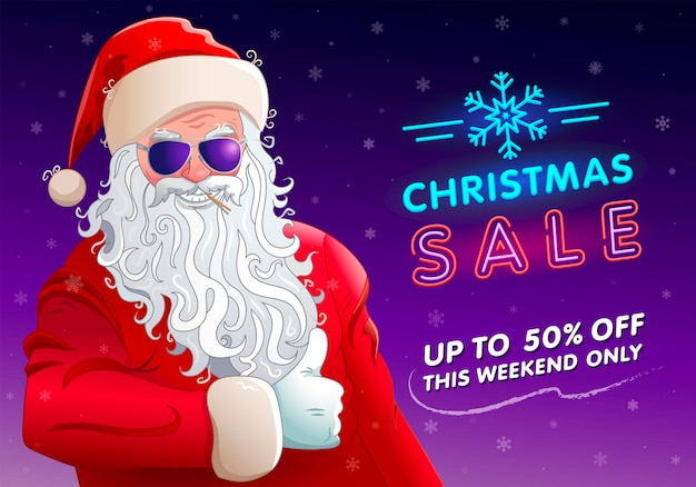 Christmas sale banner cool santa claus in glasses neon text