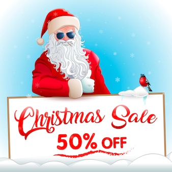 Christmas sale banner cool santa claus in sunglasses and bullfinch