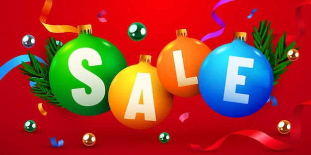 Christmas sale banner decoration balls with confetti discount flyer