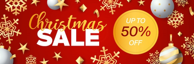 Christmas sale banner design with discount tag