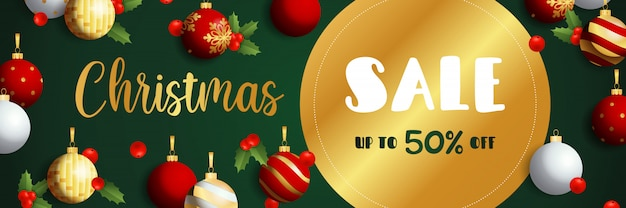 Christmas sale banner design with golden label
