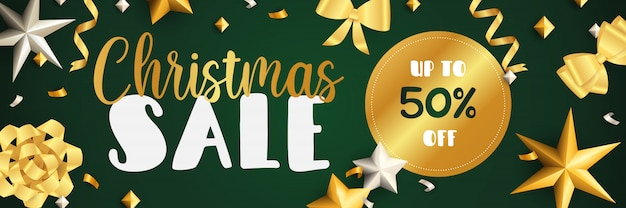 Christmas sale banner design with golden ribbons