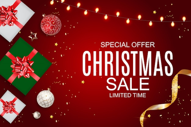 Christmas sale banner, discount offer template.