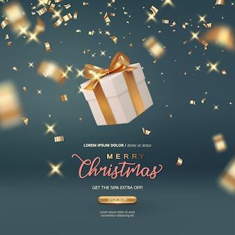 Рождественские продажи баннер. падающий подарок с золотым бантом на праздничном фоне