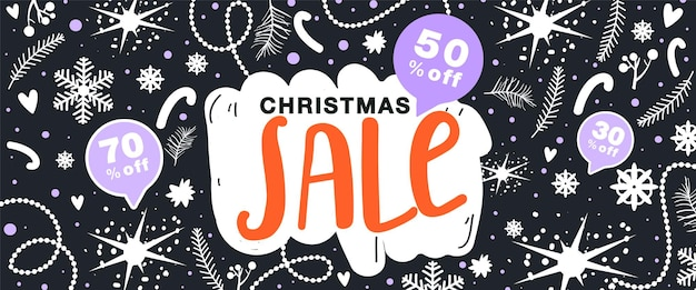 Christmas sale banner floral elements snowflake star and other decoration on black background