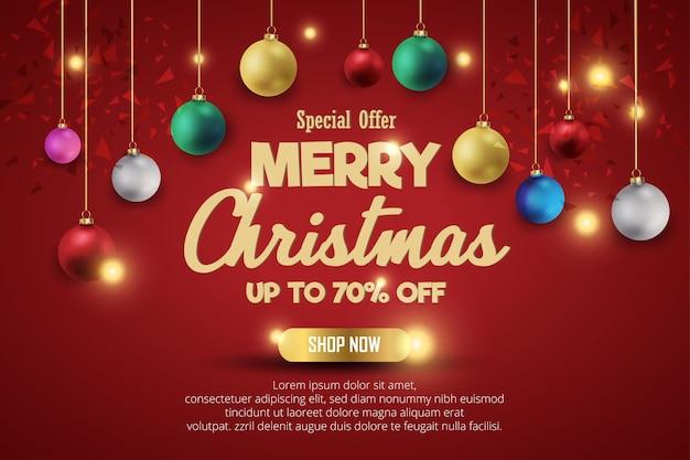 Рождественские продажи баннер для настоящего продукта на красном фоне. текстовый магазин