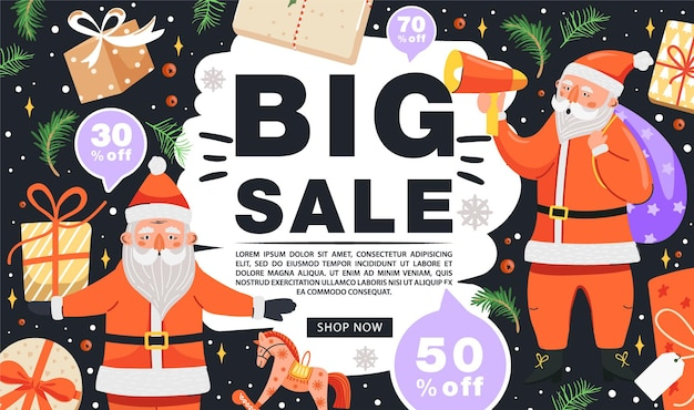 Christmas sale banner funny santa claus characters with gift and loudspeaker
