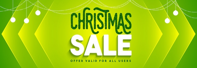 Christmas sale banner in green color.