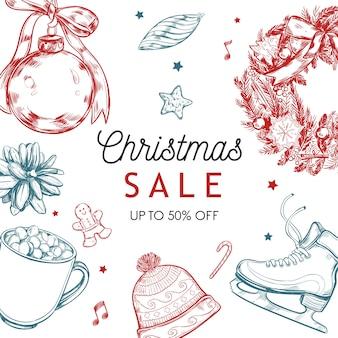 Рождественская распродажа баннер, плакат с новым годом, рождественское предложение фон