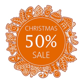 Christmas sale banner made of gingerbread cookies illustration.